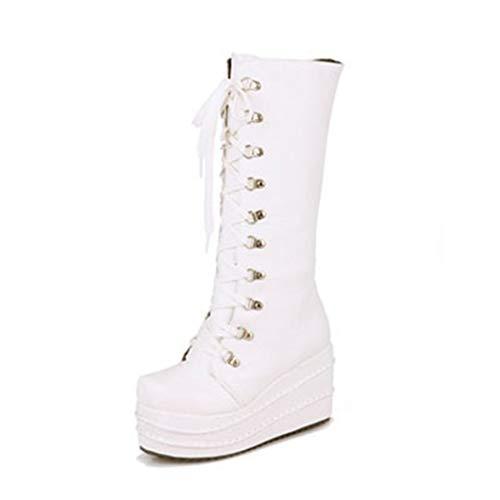 Botas de cuero para mujer Zapatos de estilo punk gótico Rodilla Plataforma de tacón alto Cremallera con cordones Tallas grandes 42 Cuñas de invierno Botas de moto largas