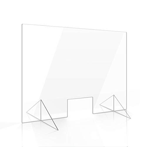 Apalis Spuckschutz Plexiglas Aufsteller 75cm x 100cm x 4mm mit Durchreiche Tischaufsatz glasklar