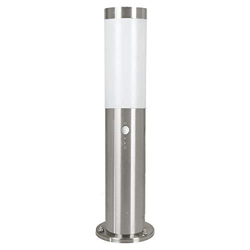 EGLO LED Außen-Wegelampe Helsinki, 1 flammige Außenleuchte inkl. Bewegungsmelder, Sensor-Wegeleuchte aus Edelstahl und Kunststoff, Farbe: Silber, weiß, Fassung: E27, IP44