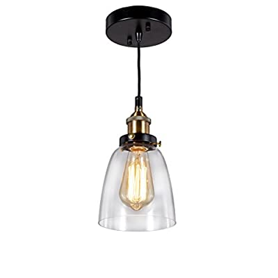 Broadway Industrial Clear Glass Lamp Vintage Light Ceiling Pendant Fixture BL-FIC/D-L1 W6 X H9 Inch