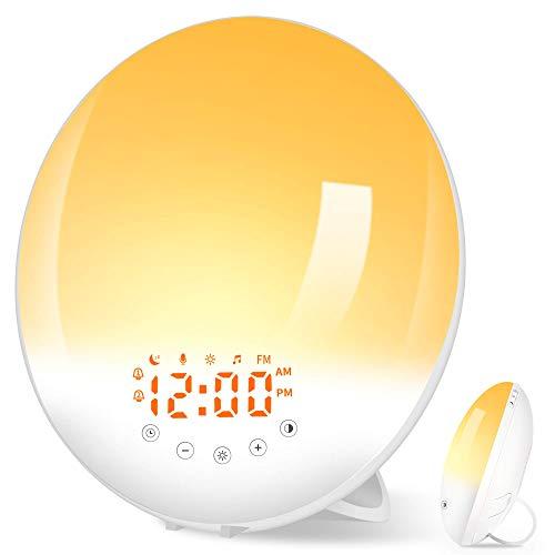 Lichtwecker Wake Up Licht mit Aufnahmefunktion Wecker mit 30 Helligkeit/Sonnenaufgang Sonnenuntergang Simulation/10 Wecktöne/FM Radio/Snooze Funktion/2 Alarme/7 Farben für Kinder Erwachsenen