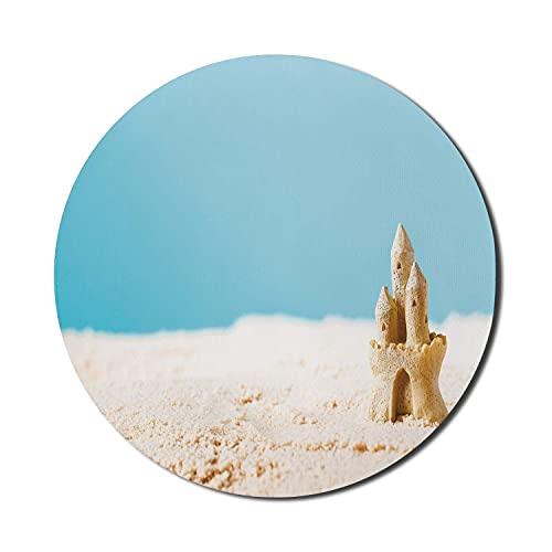 Beach Mouse Pad für Computer, Makrobild eines Schlosses mit verschwommenem Hintergrund Weihnachtszeit, rundes rutschfestes dickes Gummi Modern Gaming Mousepad, 8 'runder, hellblauer blasser Kaffee
