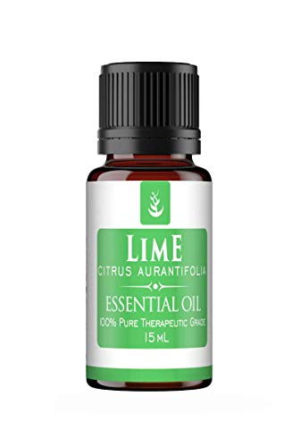 Lime Essential Oil (15 ml) by Pure, Convenient Dropper Cap Bottle, Food Safe, All-Natural, No Fillers, Refreshing & Energizing Aroma