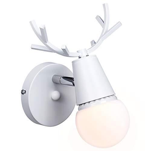 KAWELL Kreativ Wandleuchte Moderne Wandlampe Einfach Kerze Wandleuchte Eisen E27 Base Hirschkopf Nordischen Stil Art Deco für Schlafzimmer, Wohnzimmer, Kinderzimmer, Restaurant, Flur, Treppen, Weiß