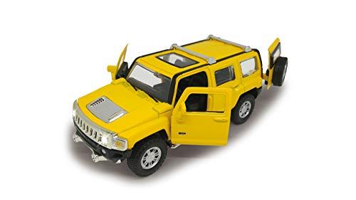 Jamara 405197 Street Kings Hummer H3 1:32 Diecast gelb – Rückzugmotor, Scheinwerfer/Rücklichter, realistischer Sound, Türen öffnen, detailgetreues Design