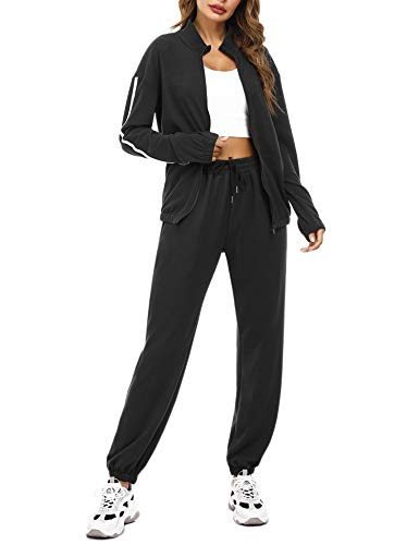 Aibrou Women Black Velour Tracksuit 2 Piece Long Sleeve Zipper Hooded Sweatshirt and Bottom Jogging Suit Casual Loungewear Pajamas Set