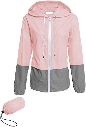 Avoogue Raincoats for Women Lightweight Waterproof Rain Jacket Packable Outdoor Hooded Windbreaker Juniors Rainwear(Light Pink S)