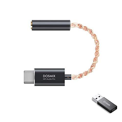 USB C DAC - Portable 32 Bit/384kHz Dosmix Headphone Amplifier, HiFi Converter, Qualcomm chipset, Impedance 600Ω, SNR123dB, Premium Sound Enhancer for Android/Windows/MacOSX System Smartphone Laptop