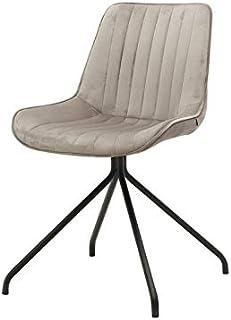 Zons – Juego de 2 sillas Kyliie de Terciopelo, Patas Negras, Beige, 59,5 x 51 x 83 cm