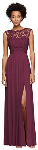 Long Bridesmaid Dress with Lace Bodice Style F19328, Wine, 12