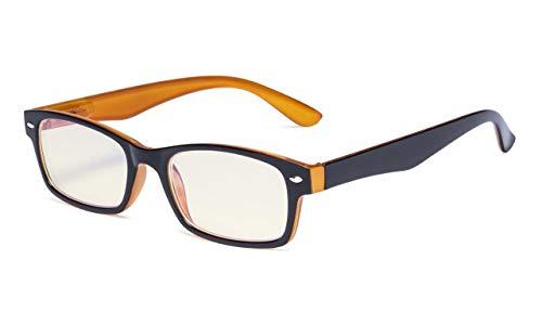 Eyekepper-veerscharnieren UV-bescherming, verblindingsbescherming tegen blauwe stralen, krasbestendige lenzen leesbril voor computer (geel getinte lenzen, zwart-geel) +1,5