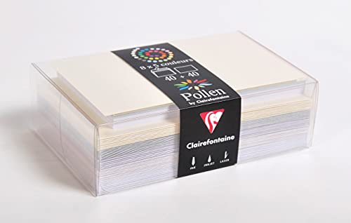 Clairefontaine 20841C - Correspondance Pollen - Coffret 40 Enveloppes 9x14cm + 40 Cartes Simples 8,2x12,8cm - Thème Mariage - 5 Coloris Différents