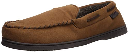 Dearfoams Men's Microsuede Moccasin with Whipstitch Slipper, Chestnut, Large