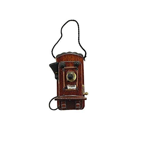 longyitrade Modelo de casa de muñecas con teléfono de pared, juguetes para niños en miniatura, decoración de casa de muñecas simulada de ébano