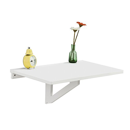 Haotian FWT903-W White Wall-Mounted Drop-Leaf Table, Folding Kitchen & Dining Table Desk, Children...