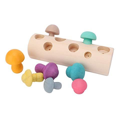 Meer informatie over de natuur Kleurrijke Paddestoel Baby Bijpassende Game Oefening Kinderen Hand-Oog Coördinatie Kinderen Speelgoed 18X6X5.3 cm voor Kinderen