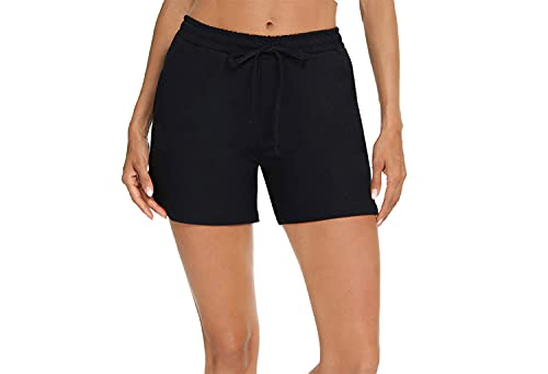Akalnny Women Elastic Waist Shorts with Pockets Casual Drawstring Comfy Shorts Summer Running Workout Yoga Cotton Short Pants (Black, Large, l)