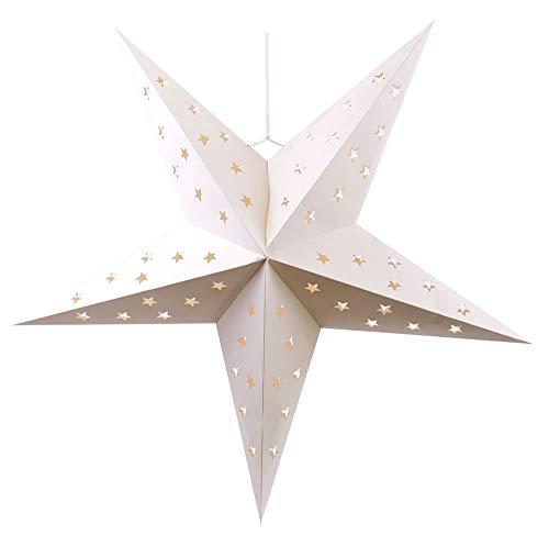 Leuchtender Weihnachtsstern 60/75 cm i ROT mit 10/15 LEDs Lichterkette und Timer für Innen. (Weiss, 75 cm)