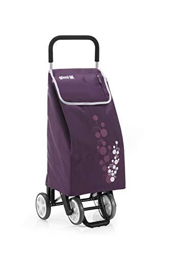 Gimi Twin- Carro de la compra, con 4 ruedas, bolsa impermeable de poliéster, capacidad de 56 litros, morado, 40 x 53 x 92 cm