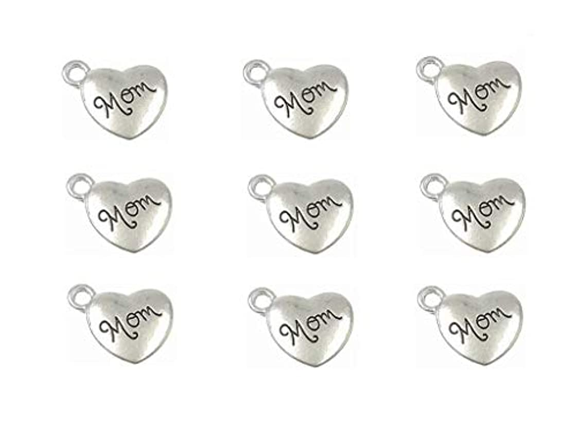 30pcs Mom Charm,Heart Shape Double-Faced Pendant for Mother's Day as DIY Bracelet Necklace Jewelry Making Findings(Antique Silver)