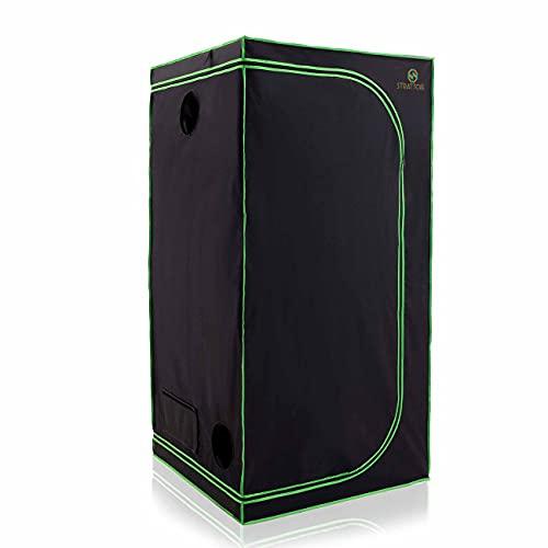 Strattore Armario de Cultivo/Grow Tent 80x80x180 cm - Hidroponía Lona Resistente a Prueba de luz y de rasgaduras - Impermeable Crecimiento rápido Cultivo de Plantas en Interiores - in Negro Verde