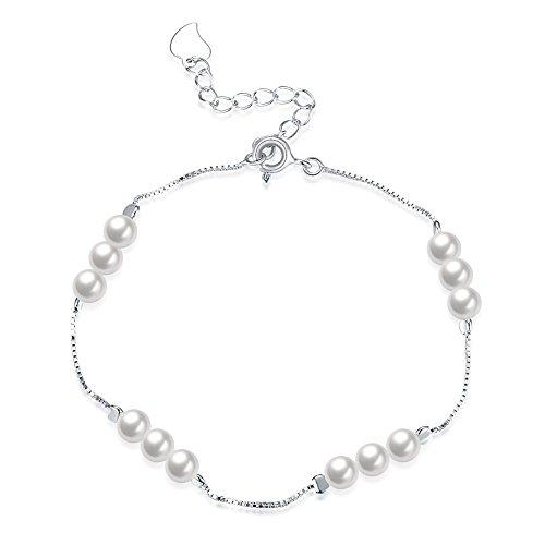 Pulsera de plata de ley 925 de NYKKOLA con perlas de agua dulce, para mujeres, para bodas, cumpleaños, aniversarios, regalos