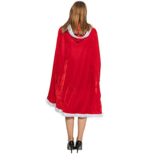OLES 59.1inch/150cm Christmas Hooded Cloak Red Velvet Cape Fancy Dress for Adults Women Christmas Xmas Party Cosplay Costume
