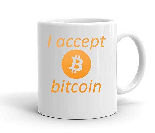 IDcommerce I Accept Bitcoin Tasse en Céramique Blanche pour Le Thé Et Le Café