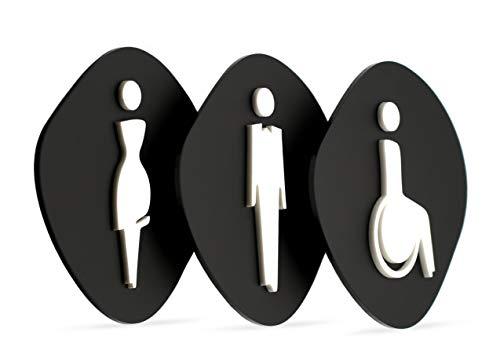 Signs   Toilet-set zwart bord voor heren, dames, handicapé [CA103]   3 x in de vorm van een badkamerrestroom toilet – platen voor deuren, personaliseerbaar, houten plaat in reliëflook