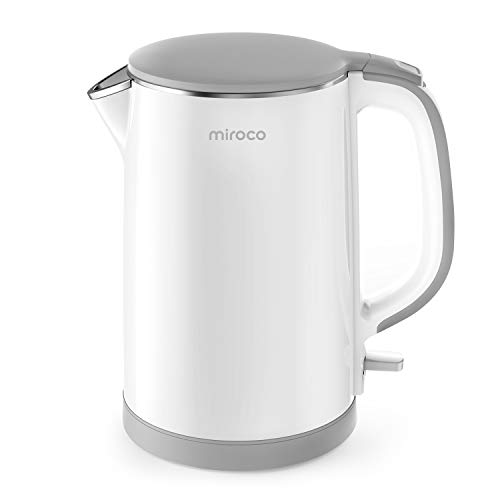 Electric Kettle Miroco Double Wall 100% Stainless Steel Cool Touch Tea Kettle with 1500W Fast Boiling Heater Cordless with Auto ShutOff amp Boil Dry Protection BPAFree White