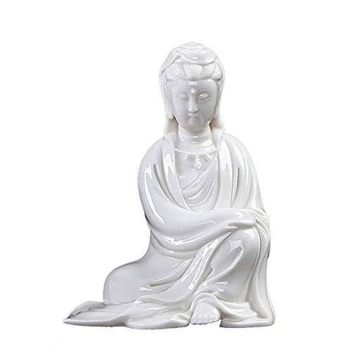 YVX Foxi Chinese Sitting Buddha, Antique Guanyin Ceramic Ornaments, Classical Ming and Qing Buddha Sculpture, White Porcelain Small Free Guanyin Statues (Color : #2)