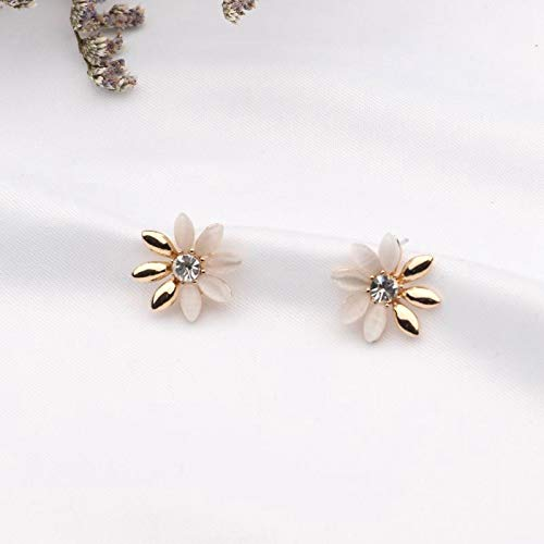 HUYV Stud Earrings For Woman,Fashion Vintage Flower Opal Earring Stainless Steel Stud Earrings For Summer Accessories Birthday Jewelry Gift Men Girls