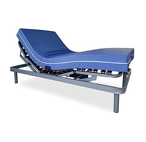 Duérmete Online Pack Cama Articulada Eléctrica Ergolux Bluetooth + Colchón Sanitario Hospitalario Impermeable + Barandillas, Gris Antracita, 90 x 190