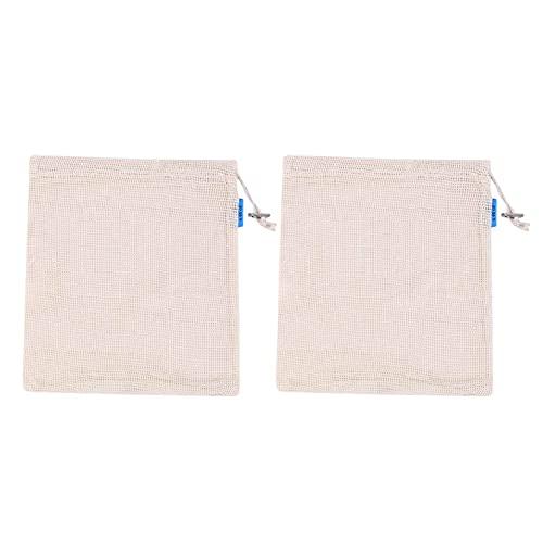 ZJHGQ Bolsas reutilizables con cordón de malla ligera, bolsa de compras lavable, bolsa de almacenamiento de frutas y verduras (30 x 25 cm)