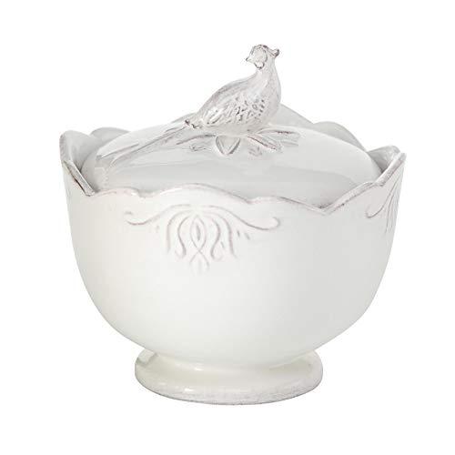 Home Collection Vorratsdose Keramik Dose mit Ornamenten und Vogel 14cm (Creme weiß)