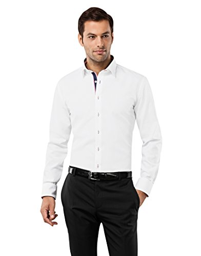 Vincenzo Boretti Herren-Hemd bügelfrei 100% Baumwolle Slim-fit tailliert Uni-Farben - Männer lang-arm Hemden für Anzug Krawatte Business Hochzeit Freizeit weiß/weinrot 41/42