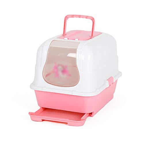 CL- Pet Toilet Cat Wurf Splash Prevention Deo komplett geschlossen Double Cat WC Schublade Typ Deo Katze Sand Becken Pet Supplies SY (Farbe : Pink)