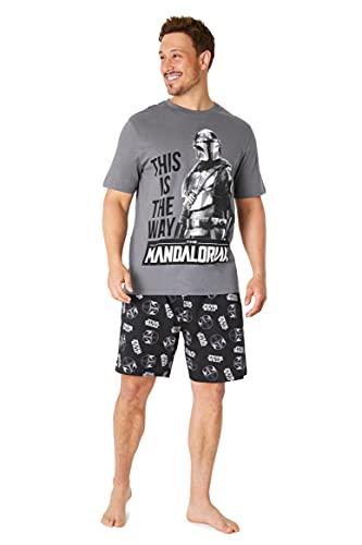 Disney Pijama Hombre Verano, Pijama Corto Hombre De Star Wars, Ropa Hombre De Algodón con Baby Yoda Y The Mandalorian S-3XL (Gris, XL)