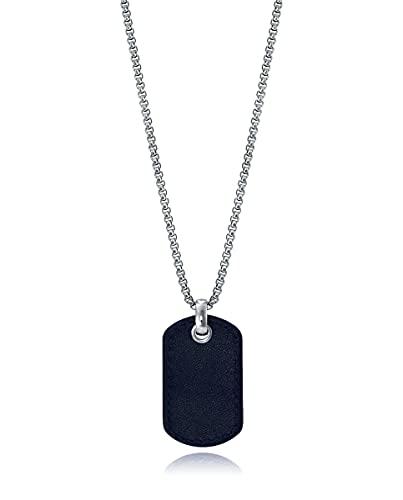 Viceroy Collar Colección Magnum con Motivo Militar de Acero Cubierto de Piel Negra
