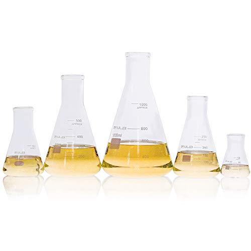 ULAB Scientific Glass Erlenmeyer Flask Set, 5 Sizes 50ml 150ml 250ml 500ml 1000ml, 3.3 Boro with Printed Graduation, UEF1002