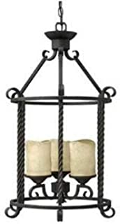 Hinkley 3504OL Casa Collection Contemporary Chandelier, Olde Black Finish - Rust Scavo Glass Shades