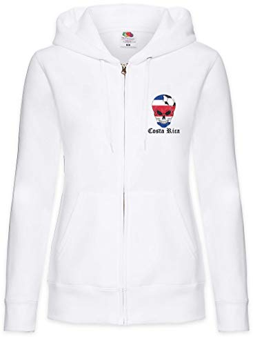Urban Backwoods Costa Rica Football Comet Sudadera con Capucha Y Cremallera para Mujer Zipper Hoodie Blanco Talla S