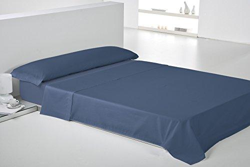 Play Basic Collection Lisa Juego de Sábana, Algodón-Poliéster, Azul Marino, 270x180x3 cm, 3 Unidades