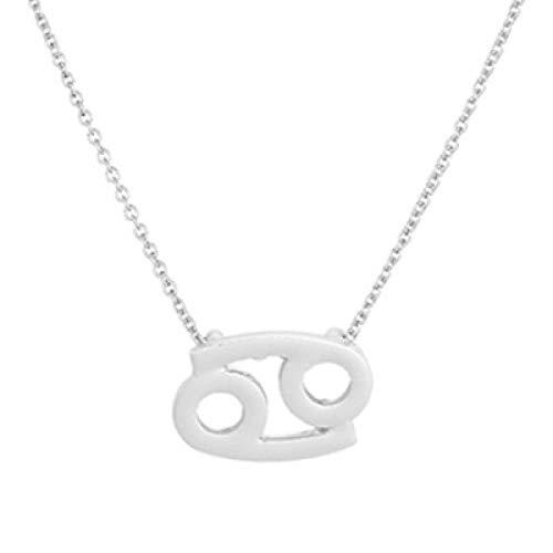 BGPOM Halskette Sommer Zwölf Sternbild Halskette Sternbild Anhänger Karte Schlüsselbeinkette, Krebs Silber