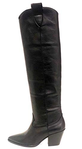 poesie veneziane scarpe POESIE VENEZIANE JBO07 - Texano Alto Donna Pelle (40 - Velvet Nero)
