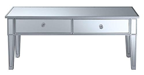Convenience Concepts Gold Coast Mirror Coffee Table with Two Drawers, Mirror / Silver Frame