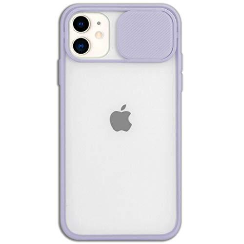Mixroom - Cover Custodia per Apple iPhone 11 Protezione Fotocamera con finestrino Scorrevole in Silicone TPU Semi Trasparente Lilla