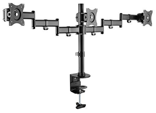 RICOO TS5911, Monitor-Halterung 3 Monitore, Schwenkbar, Neigbar, 13-27 Zoll (33-69cm) Monitor-Ständer, Schreibtisch, VESA 75x75 100x100, Schwarz