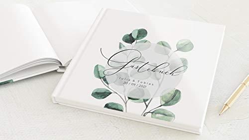 sendmoments Foto Gästebuch Hochzeit Greenery Eukalyptus, personalisiert mit Wunschtext, hochwertiges Hardcover-Buch, Quadratisch, mit 32 leeren Seiten oder mehr