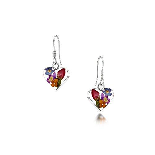 Drop earrings with real flowers by Shrieking Violet. Sterling silver heart dangle earrings handmade with real flowers. Natural floral jewellery
